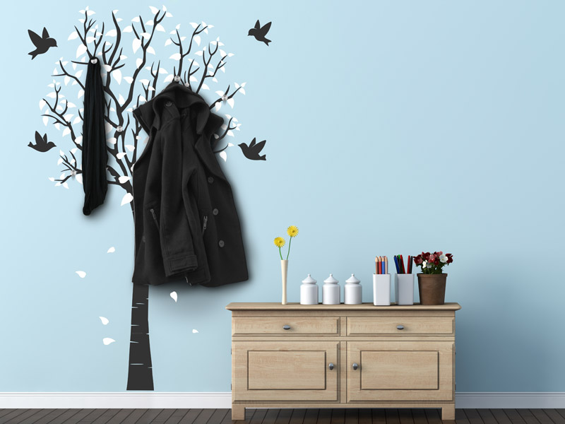 wandgarderoben von designscape wandtattoo garderobe. Black Bedroom Furniture Sets. Home Design Ideas
