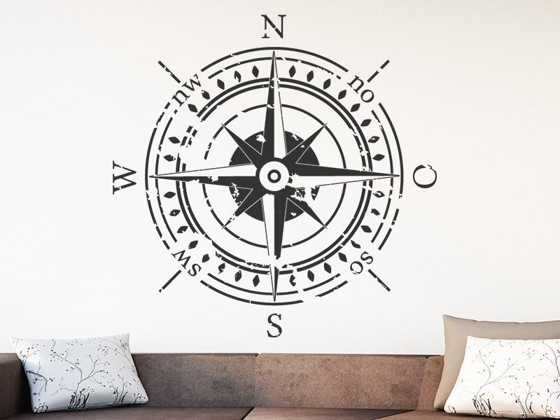 Wandtattoo Kompass im Vintage-Look