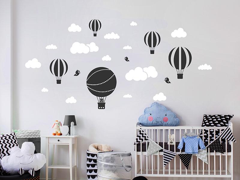 Wandtattoo Heißluftballons mit Wolken
