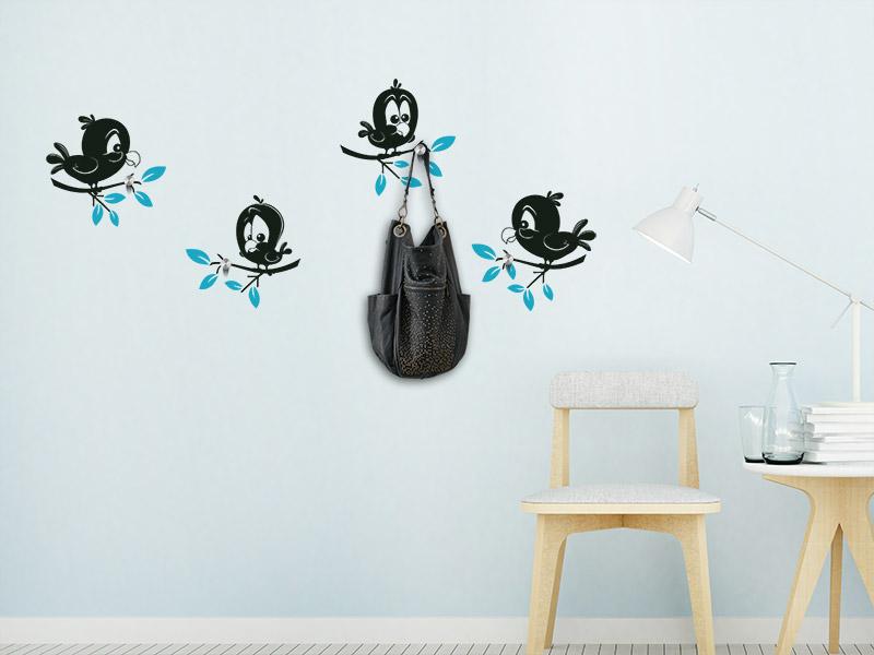 Wandtattoo Süße Vögelchen als Wandgarderobe