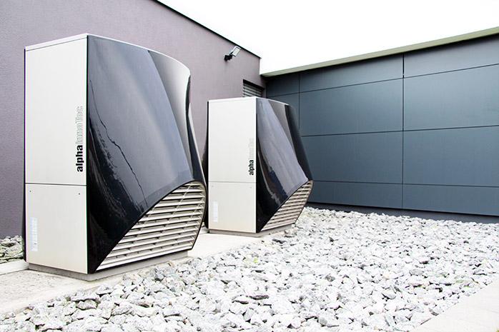 Wärmepumpen am Gebäude von Designscape