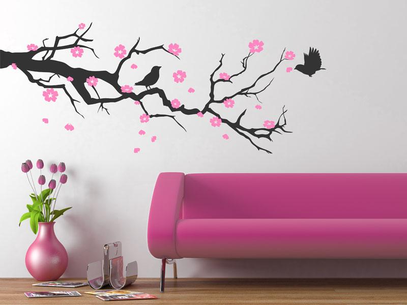 Zweig mit Blüten als Wandtattoo